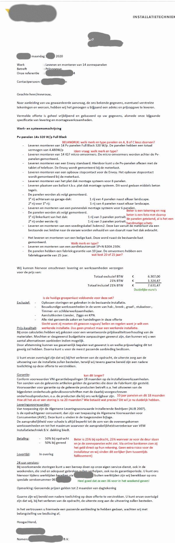 Zonnepanelen offerte voorbeeld PDF